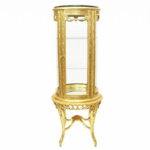CASE BAROQUE STYLE GOLD GLASS CASE WITH MARBLE TOP #MB30